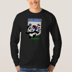 Men's Basic Long Sleeve T-Shirt with South Korea Football Panda design