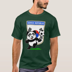 Men's Basic Dark T-Shirt with South Korea Football Panda design
