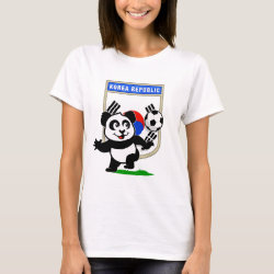 Women's Basic T-Shirt with South Korea Football Panda design