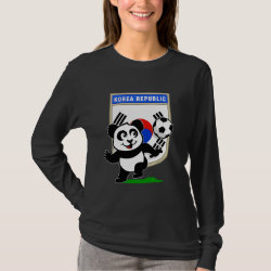 Women's Basic Long Sleeve T-Shirt with South Korea Football Panda design