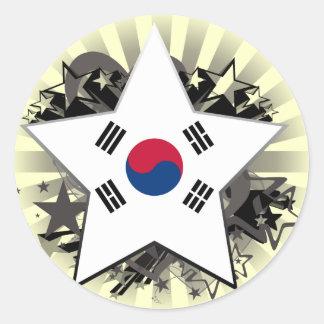 South Korea Star Round Stickers