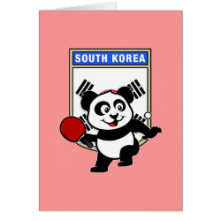 Greeting Card with South Korean Table Tennis Panda design