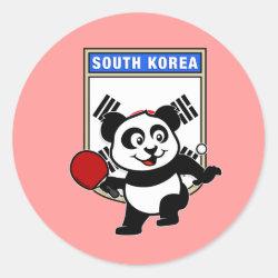 Round Sticker with South Korean Table Tennis Panda design
