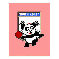 Postcard with South Korean Table Tennis Panda design
