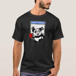 Men's Basic Dark T-Shirt with South Korean Table Tennis Panda design