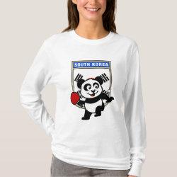 Women's Basic Long Sleeve T-Shirt with South Korean Table Tennis Panda design