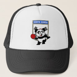 Trucker Hat with South Korean Table Tennis Panda design