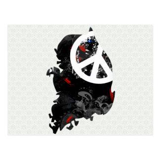 South Korea Trendy Peace Sign with Korean map Postcard