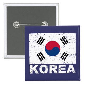 South Korea Vintage Flag 2 Inch Square Button