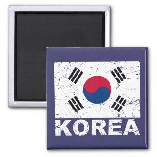 South Korea Vintage Flag 2 Inch Square Magnet