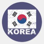 South Korea Vintage Flag Classic Round Sticker