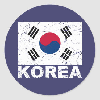 South Korea Vintage Flag Classic Round Sticker