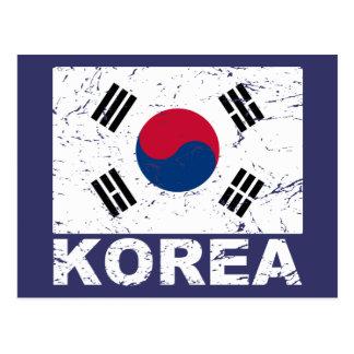 South Korea Vintage Flag Postcard