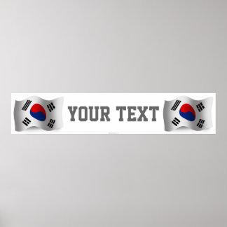 South Korea Waving Flag Banner Poster