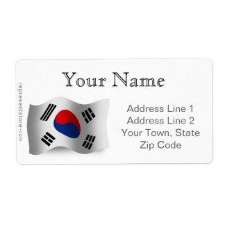 South Korea Waving Flag Label