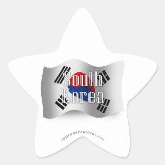 South Korea Waving Flag Star Sticker