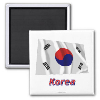 South Korea Waving Flag with Name Magnet