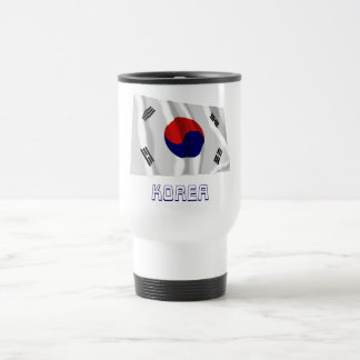 South Korea Waving Flag with Name Coffee Mugs