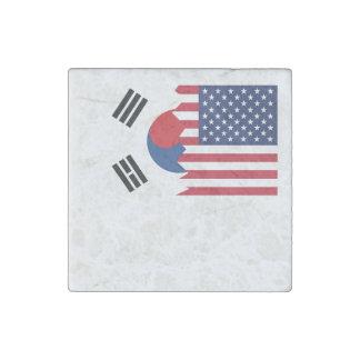 South Korean American Flag Stone Magnet