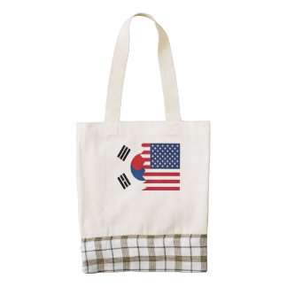 South Korean American Flag Zazzle HEART Tote Bag