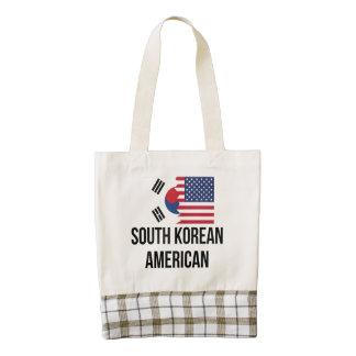 South Korean American Flag Zazzle HEART Tote Bag