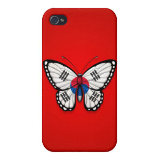 South Korean Butterfly Flag on Red iPhone 4 Case