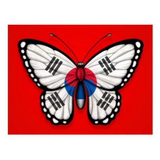 South Korean Butterfly Flag on Red Postcard