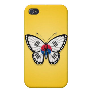 South Korean Butterfly Flag on Yellow iPhone 4/4S Covers