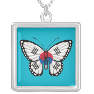 South Korean Butterfly Flag Square Pendant Necklace