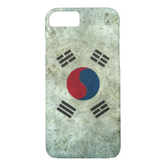 South Korean Flag Aged Steel Effect iPhone 7 Case
