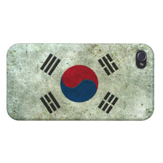 South Korean Flag Aged Steel Effect iPhone 4 Covers