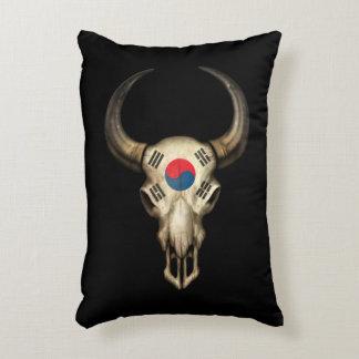 South Korean Flag Bull Skull Accent Pillow