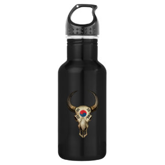 South Korean Flag Bull Skull Water Bottle