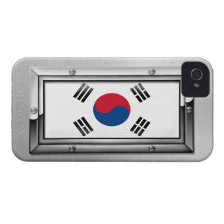 South Korean Flag in a Steel Frame Blackberry Bold Cover