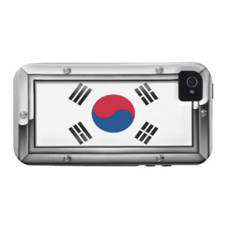 South Korean Flag in a Steel Frame Case-Mate iPhone 4 Covers