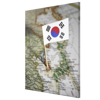 South Korean flag in map Canvas Print