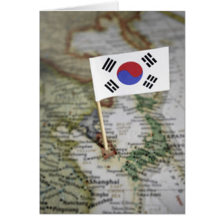South Korean flag in map Card