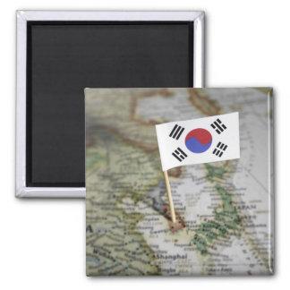South Korean flag in map Magnet