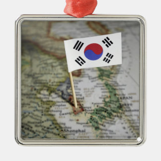 South Korean flag in map Metal Ornament