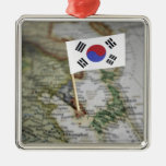 South Korean flag in map Square Metal Christmas Ornament