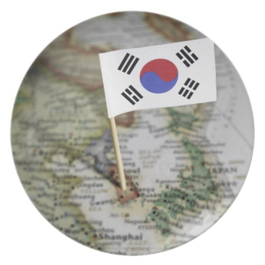South Korean flag in map Plate