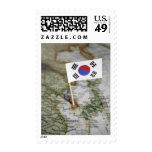 South Korean flag in map Postage Stamp