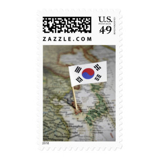 South Korean flag in map Postage Stamps