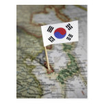 South Korean flag in map Postcards