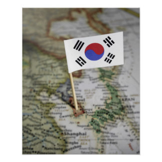 South Korean flag in map Poster