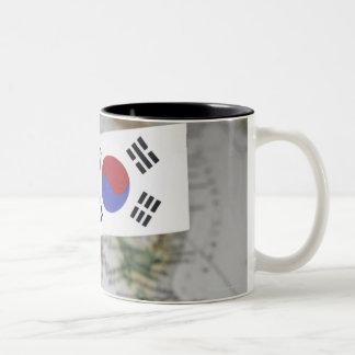 South Korean flag in map Two-Tone Coffee Mug