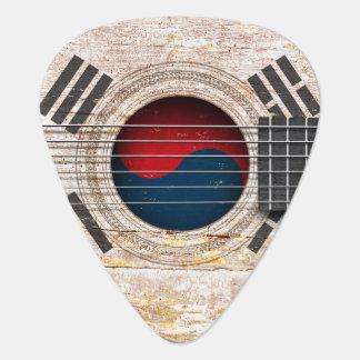 South Korean Flag on Old Acoustic Guitar Guitar Pick