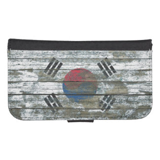 South Korean Flag on Rough Wood Boards Effect Phone Wallet Case