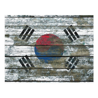 South Korean Flag on Rough Wood Boards Effect Postcard