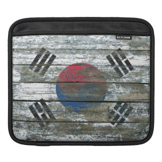 South Korean Flag on Rough Wood Boards Effect Sleeves For iPads